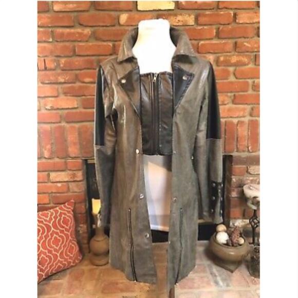 Steampunk Taupe Black Zipper Accent Jacket S/M